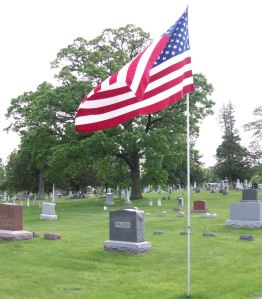 Oak Tree and Flag at the Cemetery