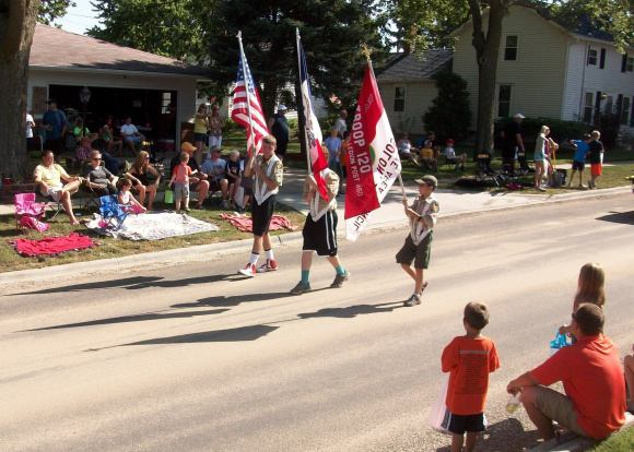 The boy scouts also have a color guard.
