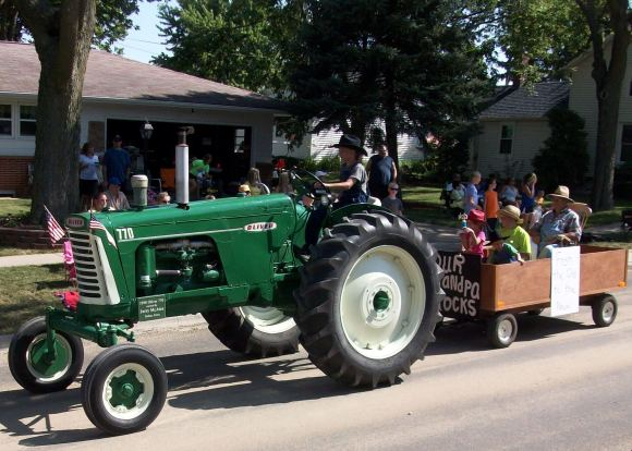 There are green tractors,