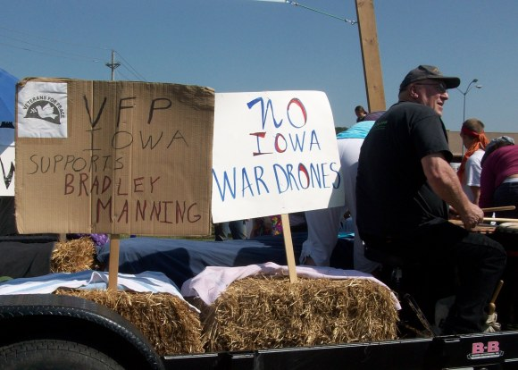 2013 Coralville Independence Day Parade. Veterans for Peace was present in force.