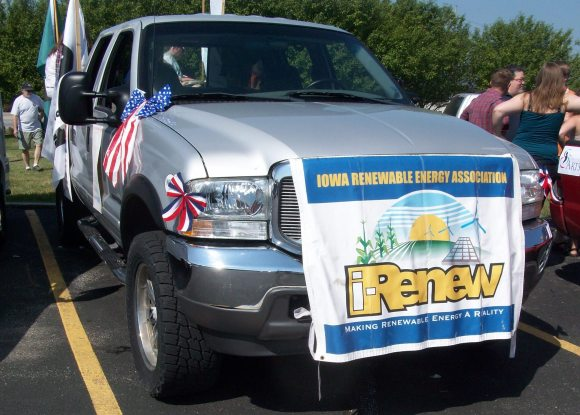 2013 Coralville Independence Day Parade. Biodiesel powered vehicle pulled the trailer.