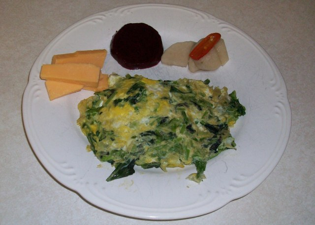 Asian Greens in Scrambled Eggs with Vermont Cheese and Pickled Bits and Pieces