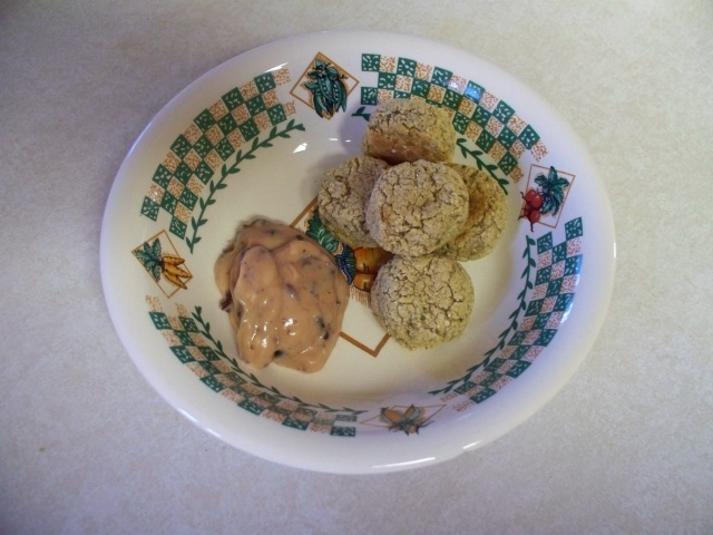 Baked falafel and Kalamata olive sauce