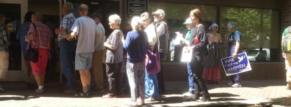 Demonstrators Filing into Rep. Dave Loebsack's Iowa City Office