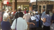 Dr. Maureen McCue speaking for the Iran Deal at Rep. Dave Loebsack's Office