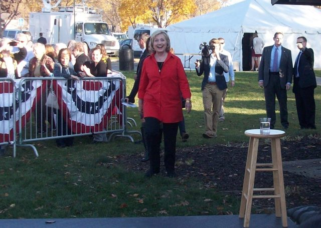 Hillary Clinton Walking to the Stage at S.T. Morrison Park, Coralville, Iowa