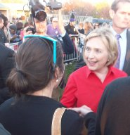 Global Zero's Brittany Kimzety Bird-Dogging Hillary Clinton in Coralville