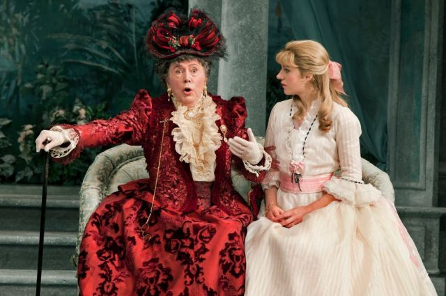 """Mr. Bedford, left, as Lady Bracknell and Charlotte Parry as Cecily Cardew in """"The Importance of Being Earnest,"""" a 2010 production at the American Airlines Theater. (Photo Credit: New York Times"""