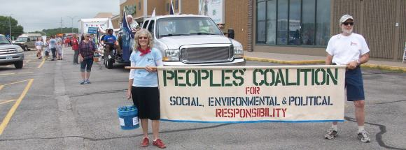 Peoples' Coalition at the Coralville Independence Day Parade