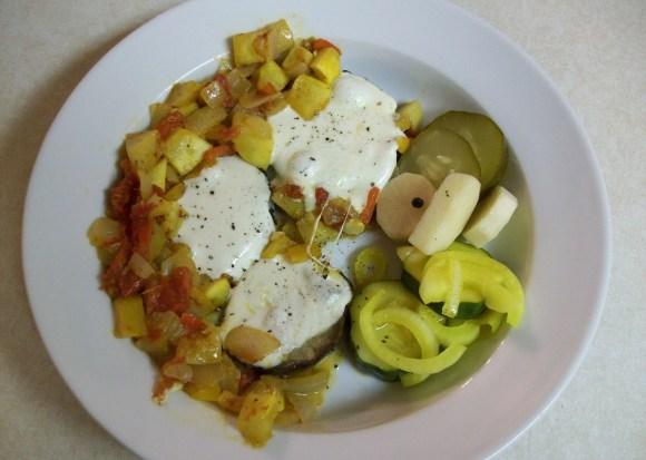 Saturday Breakfast Featuring Eggplant, Turk's Turban Squash and Pickles.