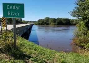 Cedar River at Iowa Highway One Sept. 27, 11:36 a.m.