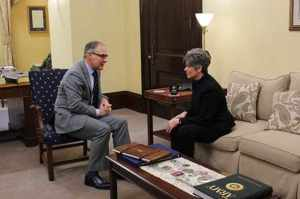 Oklahoma Attorney General and Environmental Protection Agency Administrator nominee Scott Pruitt meets with Iowa Senator Joni Ernst in her office.